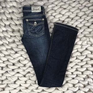 Express Barely Boot low rise dark wash Jeans Sz 00